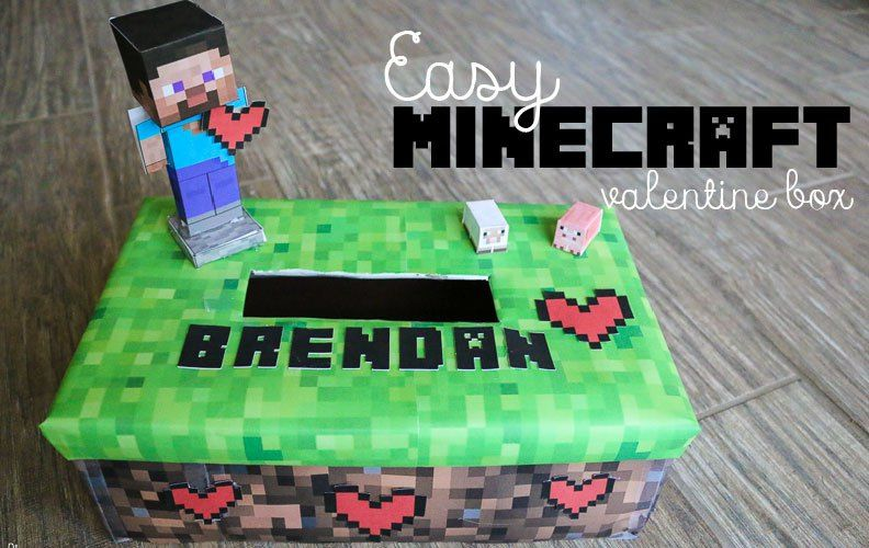 photograph relating to Minecraft Valentine Box Printable identify Very simple Minecraft Valentine Box + Printable Pixel Hearts Tori