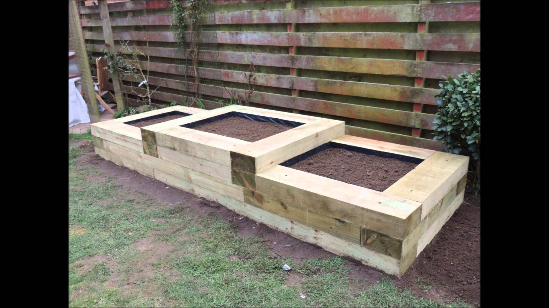 Raised flower beds with the use of railway sleepers by W