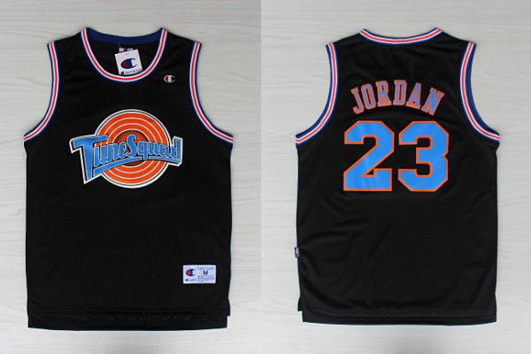 8c917e9c182853 Bulls  23 Michael Jordan Black Tune Squad Stitched NBA Jersey