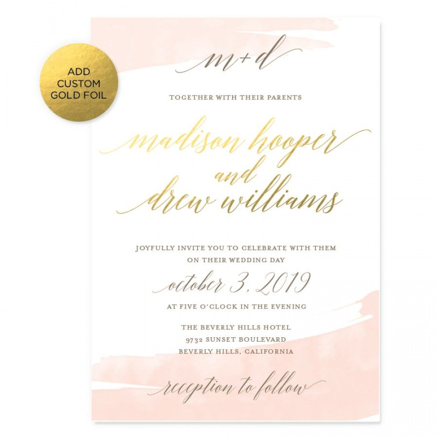 Watercolor Swash Wedding Invitations Smitten On Paper Watercolor