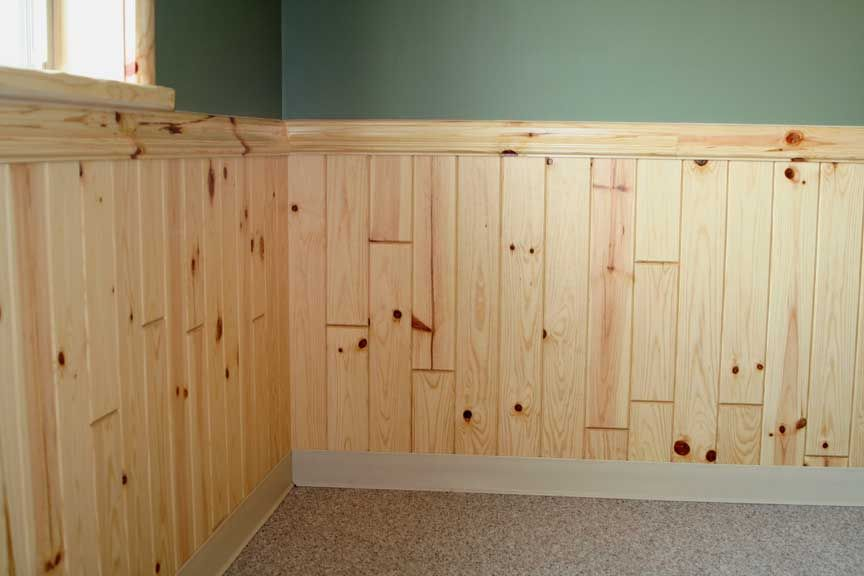 Wood Paneling Chair Rail Part - 37: Wainscoting Styles | Egular 1x4 Pine Paneling- Wainscoting W/2x4 Colonial  Chair-rail