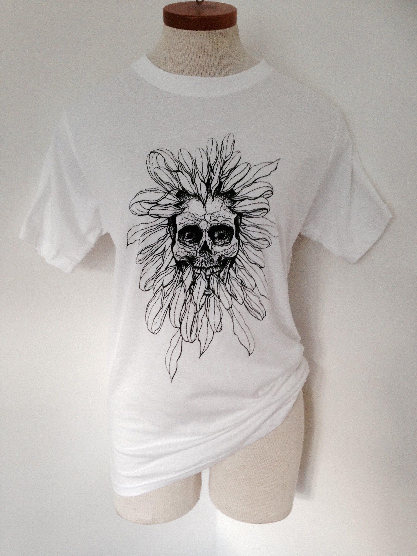 Skull And Chrisanthemum Flower Unisex White Cotton T Shirt Tattoo Style Design Hand Screen Printed By Susyrdesign Size S White Cotton T Shirts Sunflower Tattoo Sleeve Black And White Shirt