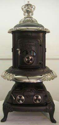 All Antique Stoves for Heating for sale : Modern Glenwood Oak #116 Cylinder Wood Antique Stove