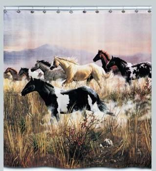Our Band Of Thunder Horse Shower Curtain Captures A Group Galloping Wild Horses Crossing The Plains Untamed American West In Stunning Detail And