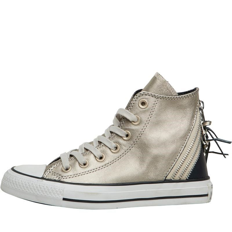 1868def02e Converse Womens CT All Star Hi Leather Triple Zip Trainers Metallic/Black