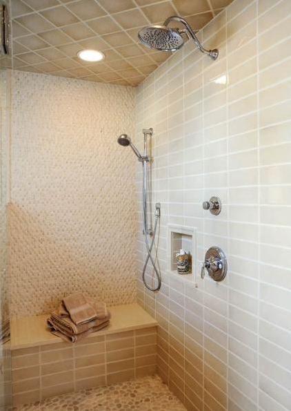 This Shower Tile Work Is A Mastery Of Four Finishes With Three Diffe Tiles And All Colors Blended Together To Create Cohesive Modern Look