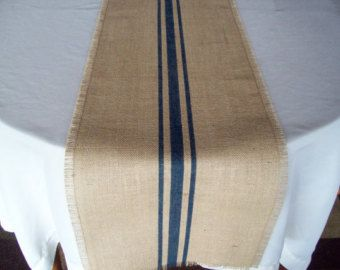 Table Runner Burlap And Navy Blue