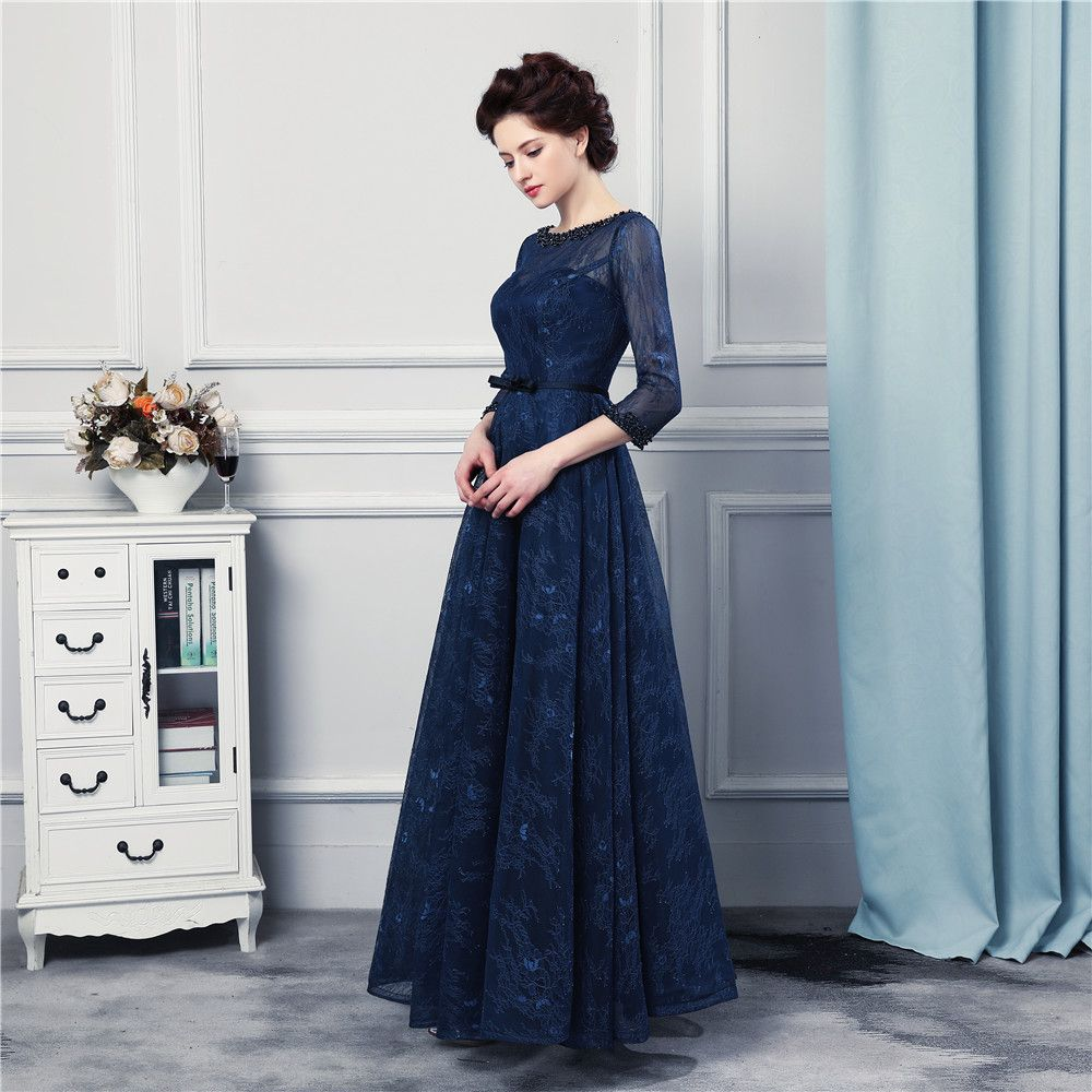 Navy blue long bridesmaid dresses high quality lace floor length