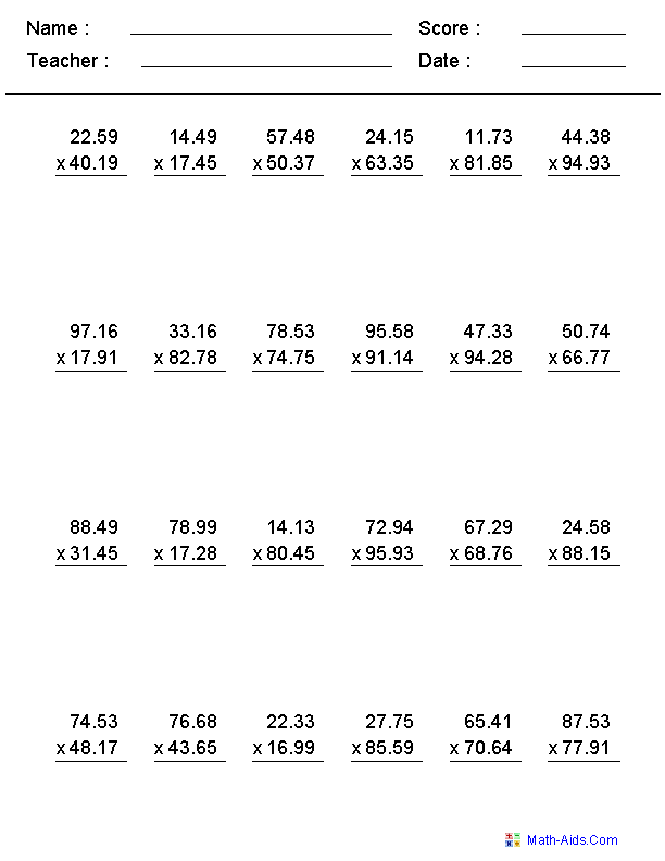 Multiplication Worksheets with Decimals This worksheet was built to ...
