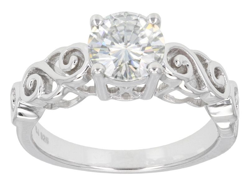 Moissanite Fire Tm 1 20ct Diamond Equivalent Weight Round Platineve Tm Ring Moissanite Jewelry Jewelry Online Jewelry