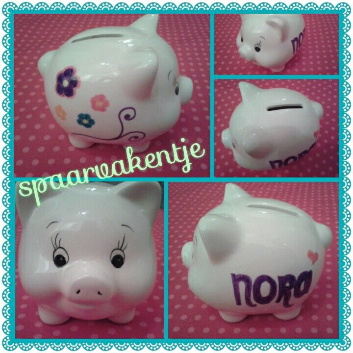 Lief, klein spaarvakentje met naam! #creatief #creative #porcelainpainting #porseleinverf #madebyme #creativitess #DIY