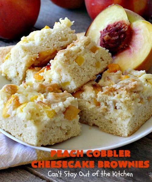 Peach Cobbler Cheesecake Brownies #peachcobblercheesecake Peach Cobbler Cheesecake Brownies #peachcobblercheesecake