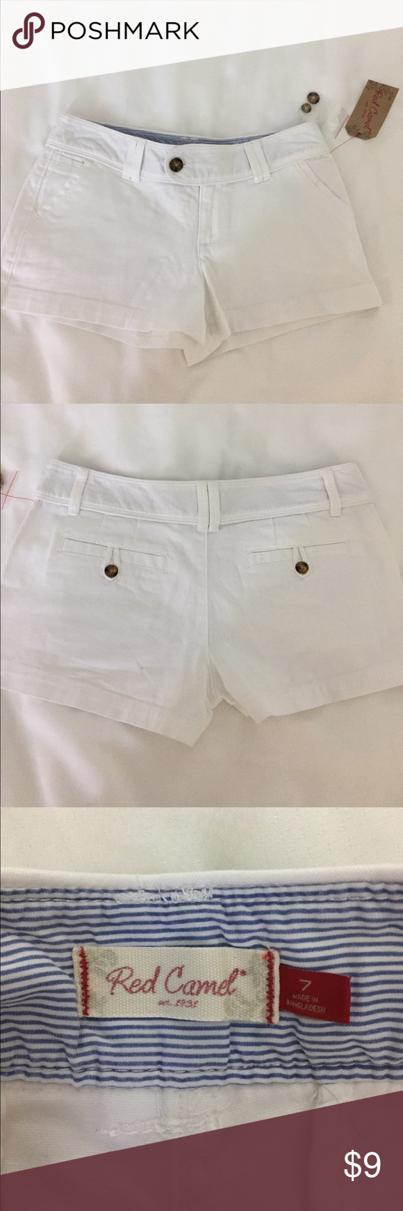 NWT White shorts Red Camel NWT shorts. Measures 10 inches from top to bottom hem. Size 7 Red Camel Shorts