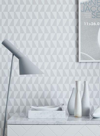 Arne Jacobsen Tapete Trapez von Boras-3517 | Vintage wohnzimmer ...