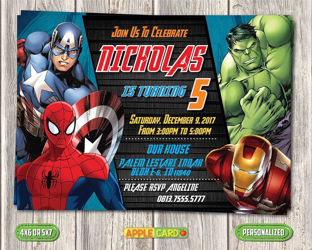 Avengers Birthday Invitation, Avengers Invitation Card, Super