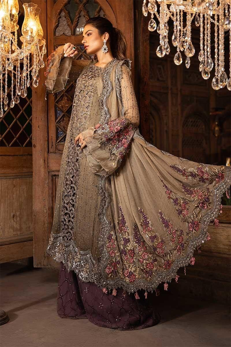Maria B Mbroidered Heritage Eid Collection 2019 Cappuccino Grey Lilac Bd 1704 Designer Party Dresses Latest Pakistani Dresses Pakistani Outfits