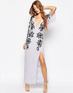 ASOS - Maxi robe style kimono avec décolleté plongeant et dentelle appliquée