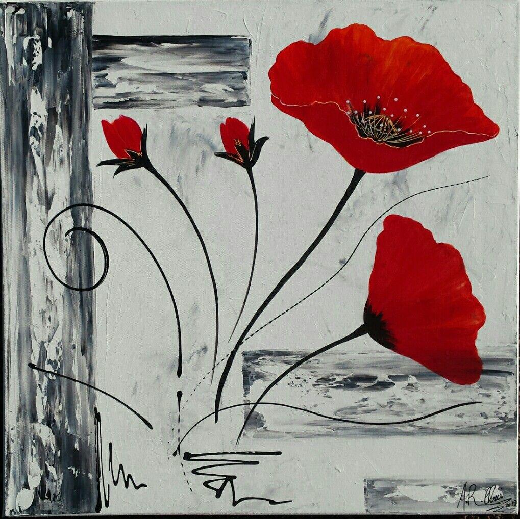 Tableau Moderne Coquelicots En Rouge Et Noir Peinture Acrylique Sur Toile Chassis Plat 50x50 Pei Coquelicots Peinture Peintures De Fleurs Abstraites Peinture