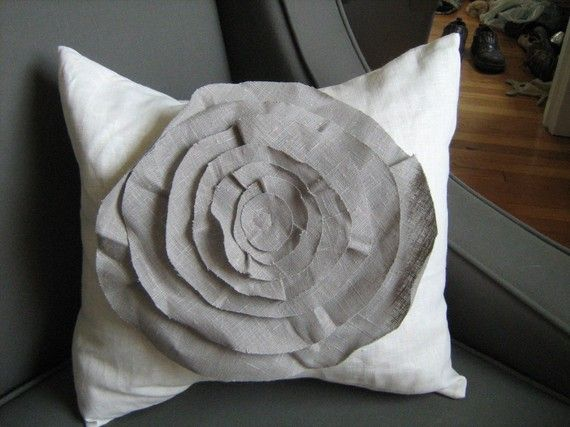 French Rose Linen Pillow in White with Grey Rose
