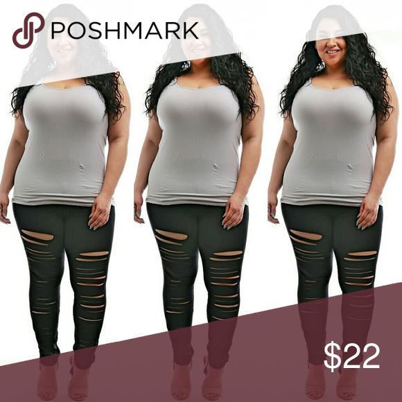 5d965acfbf5 🆕Sale plus size ripped leggings 1x 2x 3x Plus size black ripped leggings  1x 2x 3x Pants Leggings