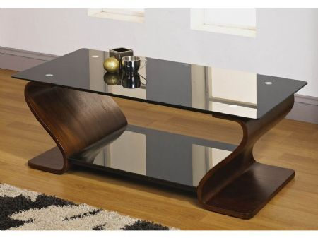 Alicia Designer Coffee Table With Curved Walnut Veneer Base Black Gl