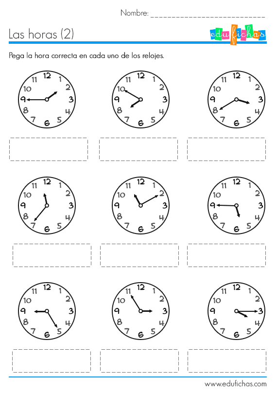 aprender las horas ficha | Spanish 1 Unit 3.2 (2-2) | Pinterest ...