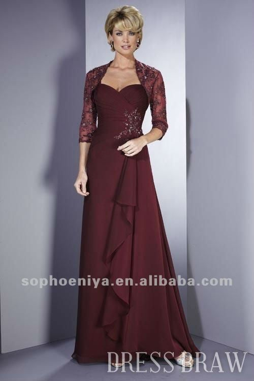 Mother Of The Bride Dress With Lace jacket A Line Chiffon Wedding Party Crystal