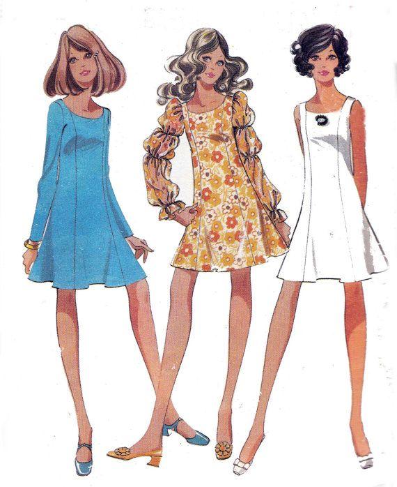 Boho Princess Mini Dress 1960s Vintage Sewing Pattern ...