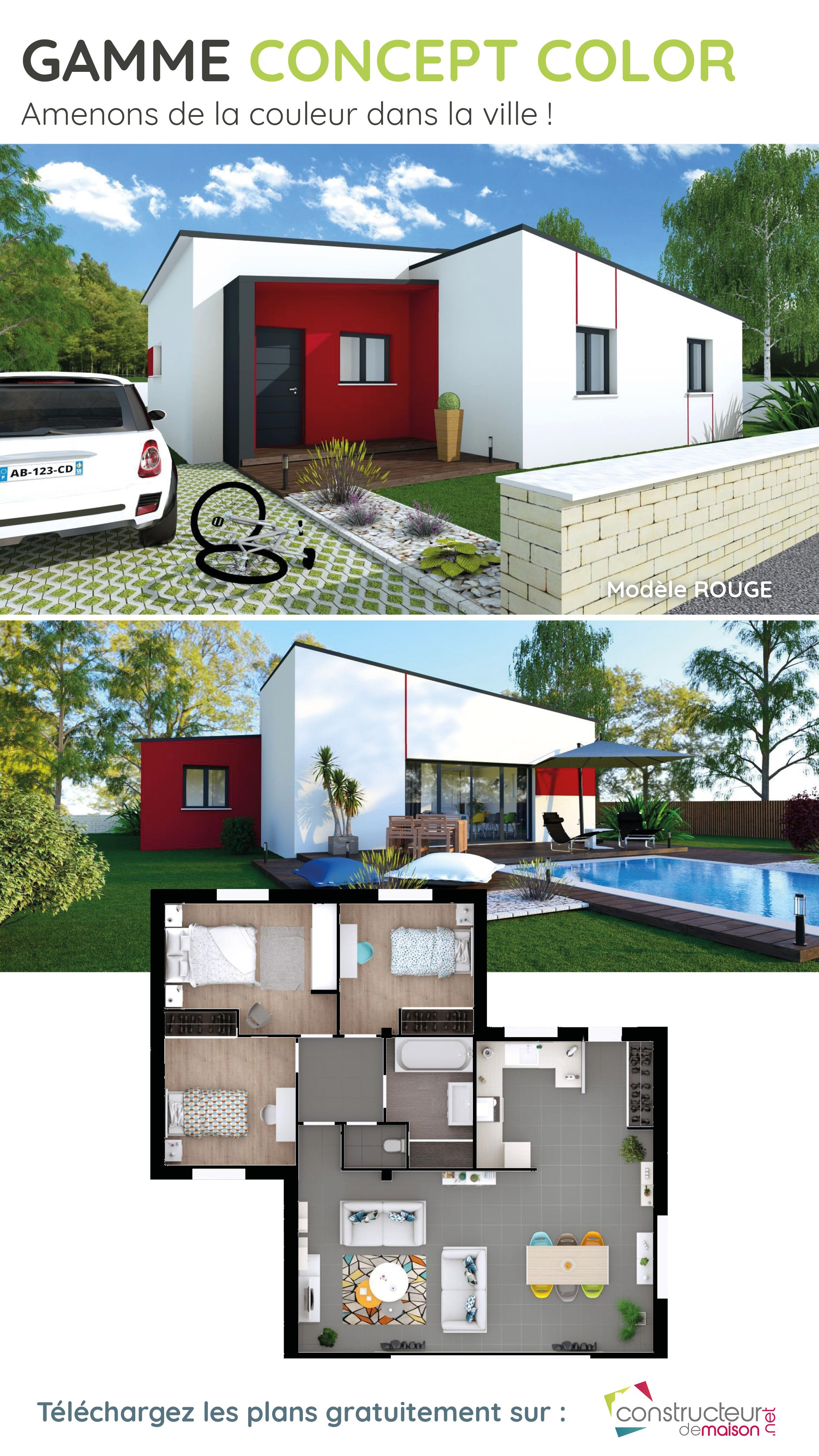 89939f3e47baa Plan d une maison de plein pied - Modèle Rouge Gamme Concept Color. Maison