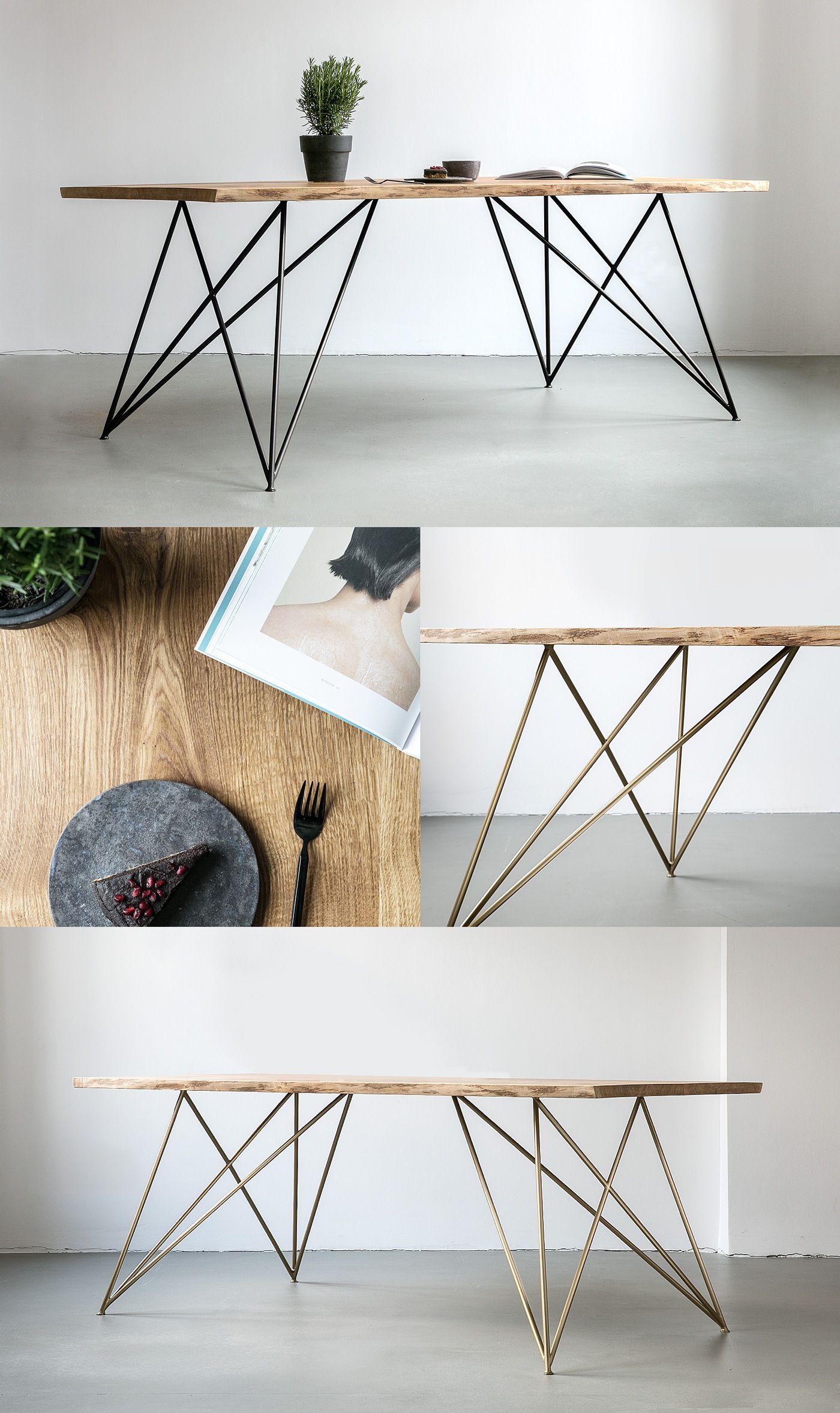 Nutsandwoods Oak Table Slim Tisch Aus Eichenholz Mit Gestell
