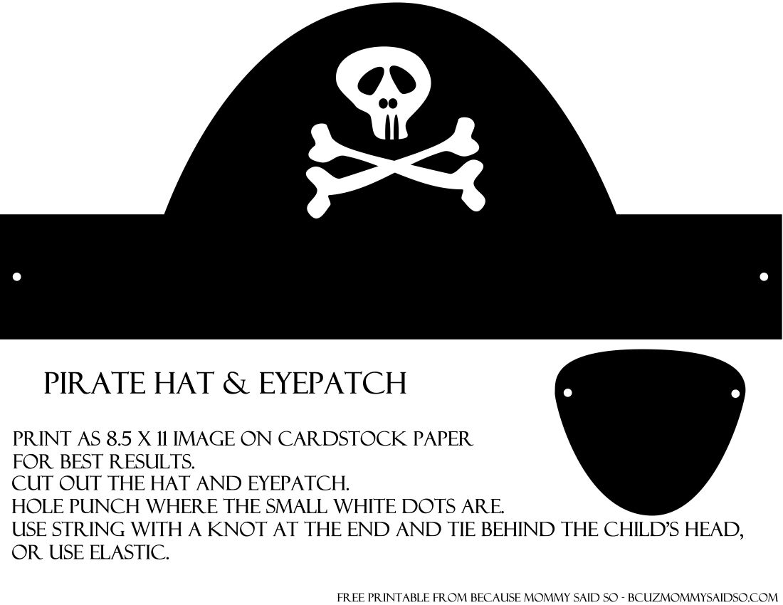 Pirate hat and eye patch template under the sea ariel for Diy pirate hat template