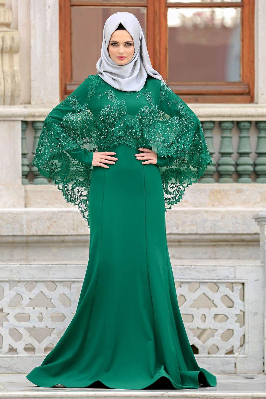 Tesetturlu Abiye Elbise Boncuk Detayli Yesil Tesetturlu Abiye Elbise 43910y Tesetturisland Com Musluman Modasi Elbise Moda Stilleri