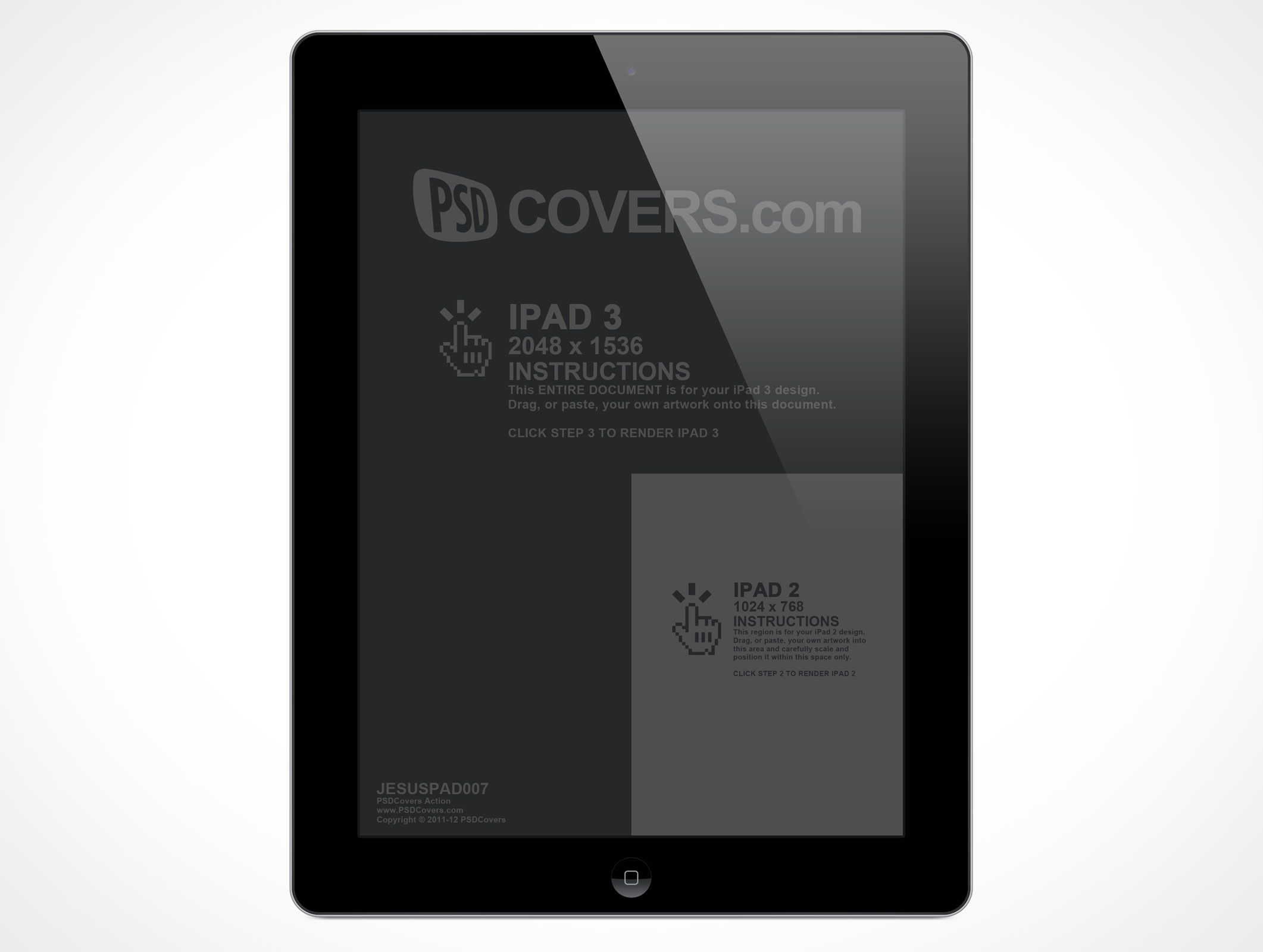 Jesuspad007 Is A Front View Shot Of The New Ipad This Psd Mockup Fully Supports Rendering Your Apple Ipad2 At 1024 768 Or Ipad3 At 2048 Psd Mockup Psd Mockup