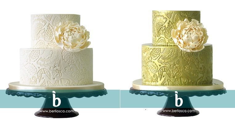 Embossed Lace Wedding Cakes Ivory And Gold By Berliosca Cake Design
