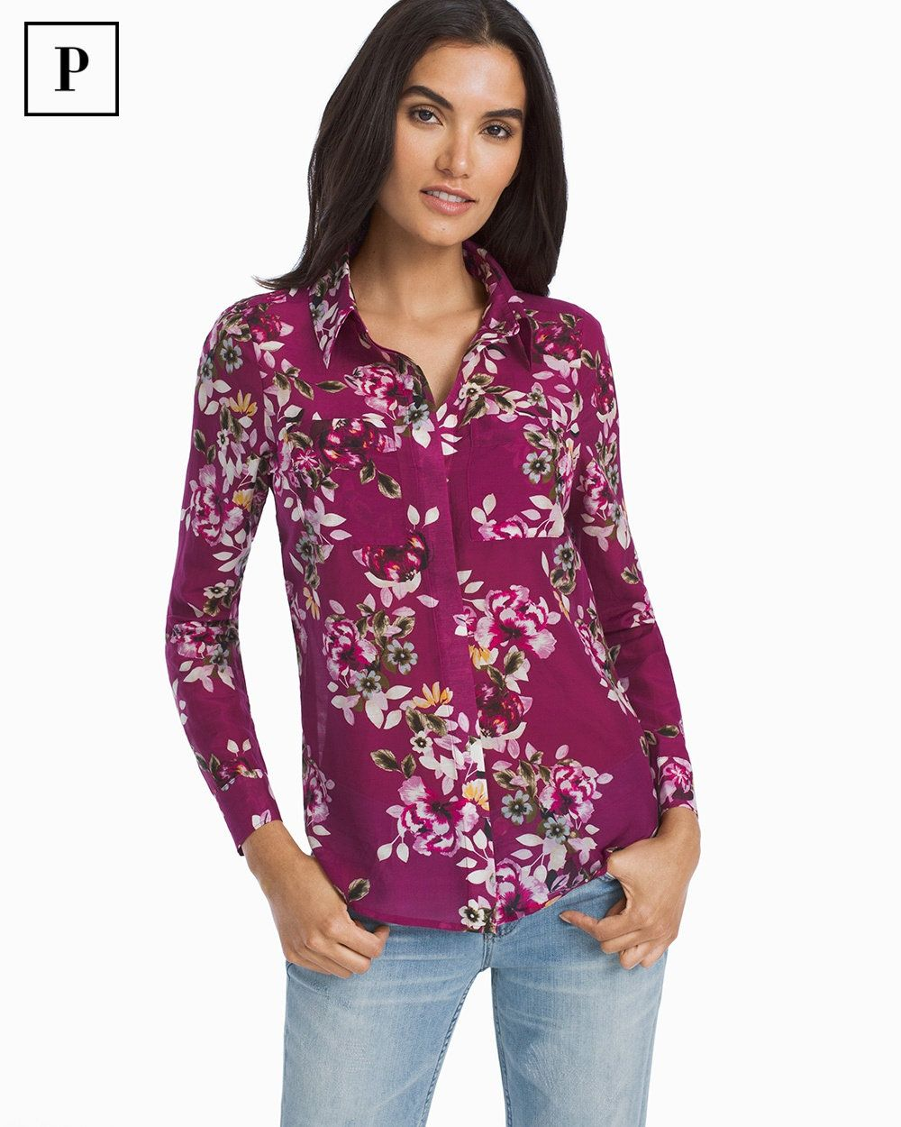 756a12710 A classic, customer-favorite button-up shirt is back and reimagined in a  cotton-silk blend and topped off with a bold floral print we call Berry  Bouquet.