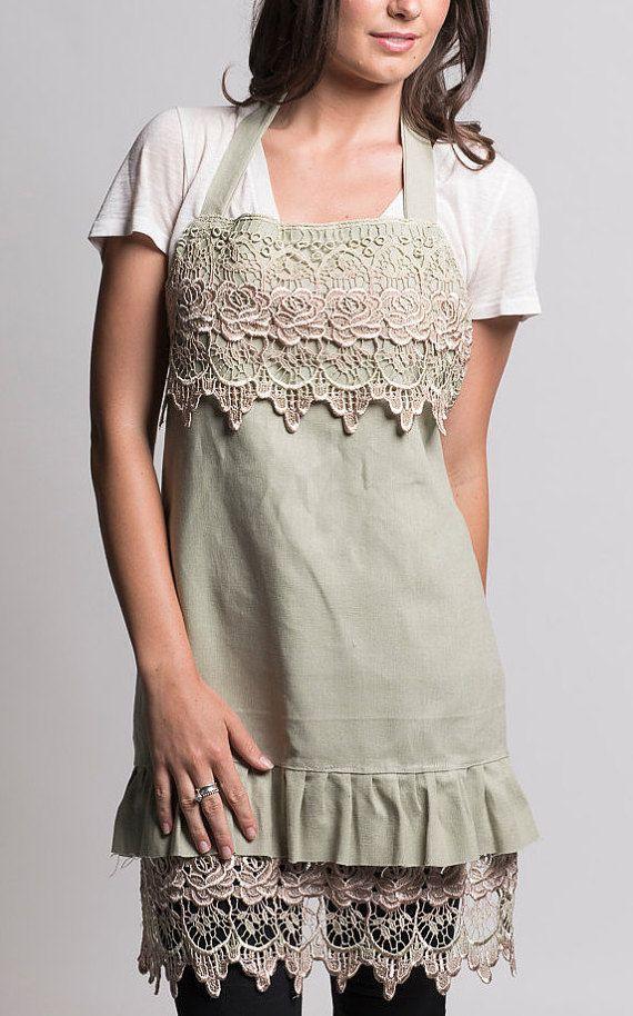 linen lace apron. ladies apron. girls by MissRoseSisterViolet