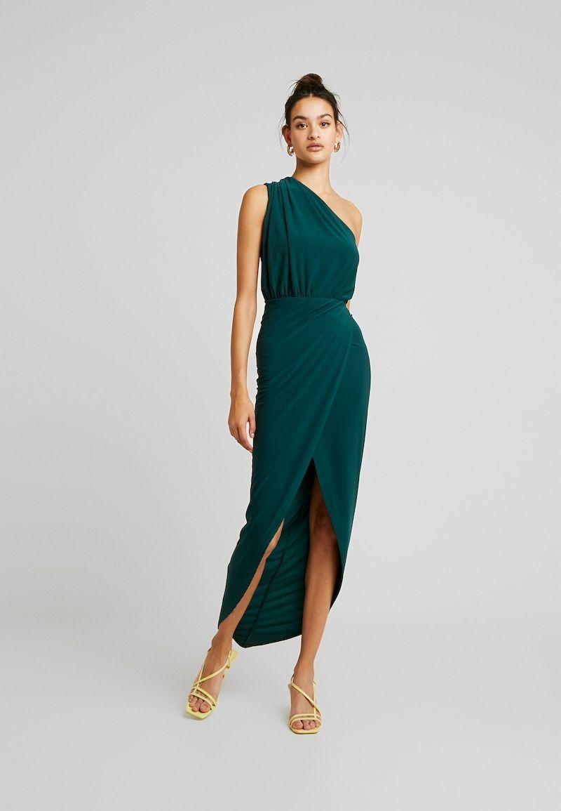 Long One Shoulder Green Dress Smart Day Dresses Gala Outfit Drape Maxi Dress [ 1155 x 800 Pixel ]