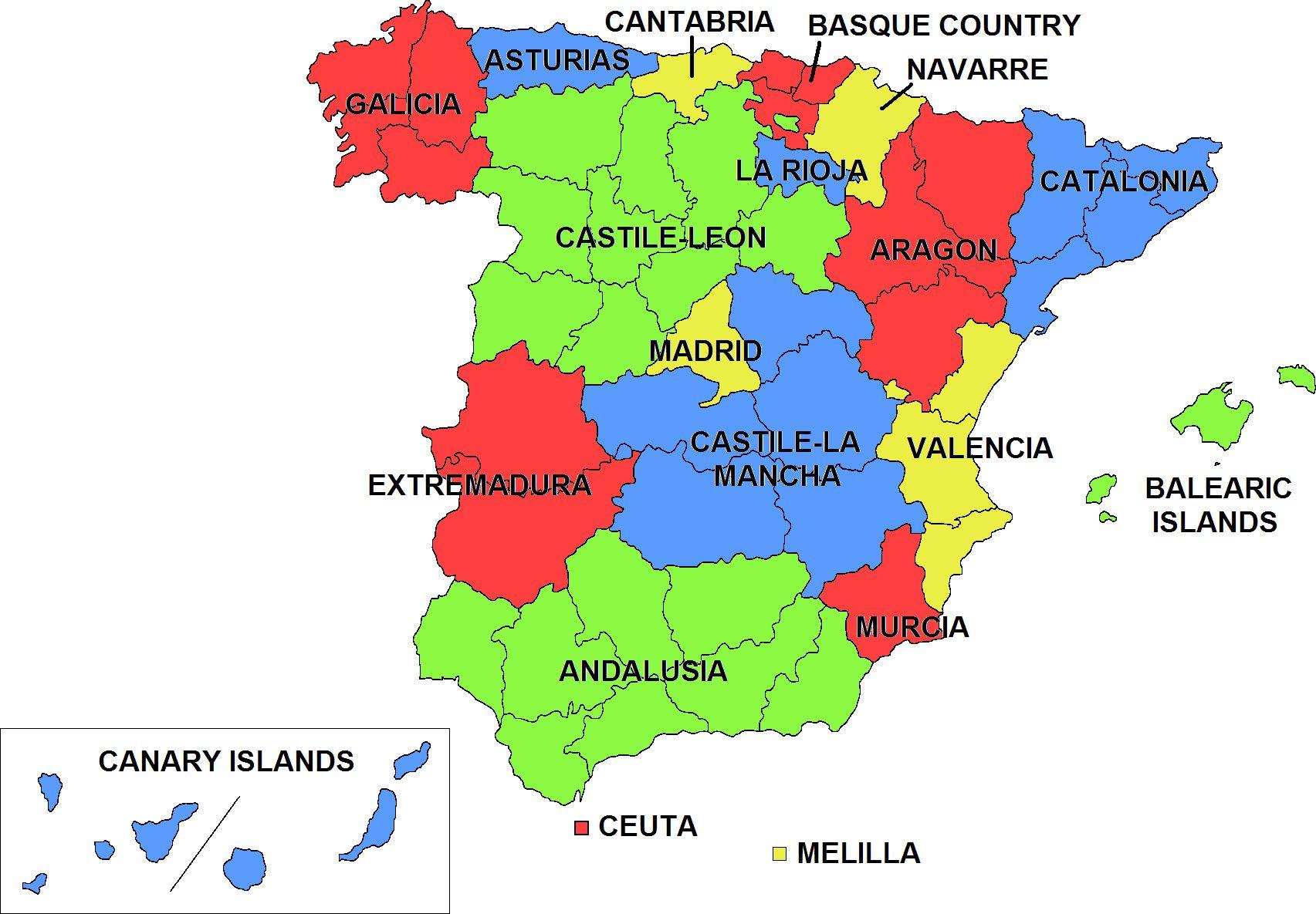 carte d espagne avec regions Regions of Spain | Espagne, Espagnol, Carte