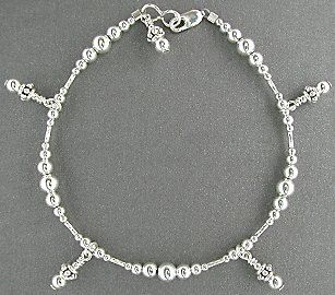 Sterling Silver Anklet Small To Plus Size Ankle Bracelet With Dangle Charms 9