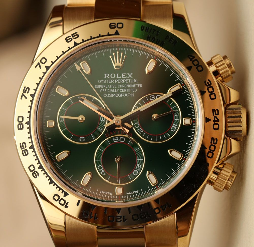 Rolex Cosmograph Daytona 116508 Green Dial 18k Yellow Gold Watch