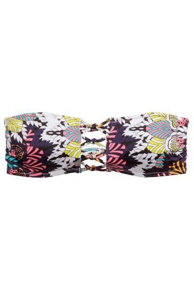 Top bikini: Top da bikini foderato. Fascette sottili incrociate sulla schiena e con nodi decorativi davanti. Coppe con inserti removibili, laccetti staccabili da annodare sulla nuca. Stecche di sostegno sui lati.