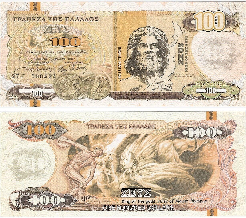 Greece 10 20 50 100 1000 Dollars 2014 UNC God Banknote Set 5 pcs