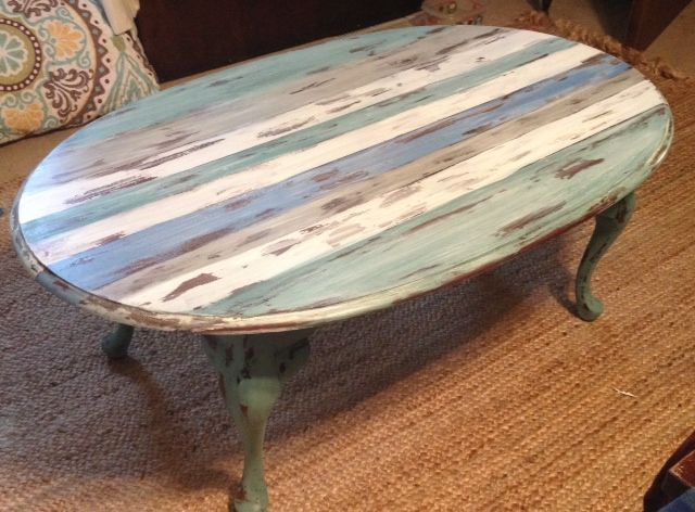 Distressed Beachy Striped Coffee Table Painted Coffee Tables