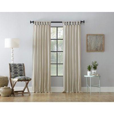 52 X63 Washed Cotton Twist Tab Curtain Oatmeal Archaeo White Curtains Tab Curtains Curtains
