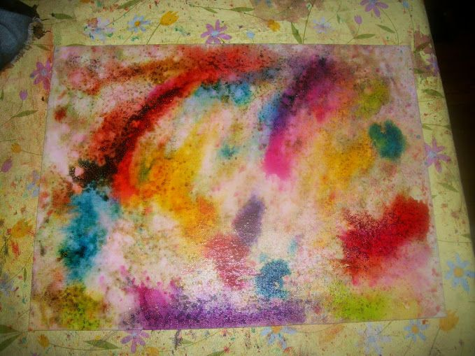 Alcohol dye. Spread rubbing alcohol on the canvas, then drip on ...