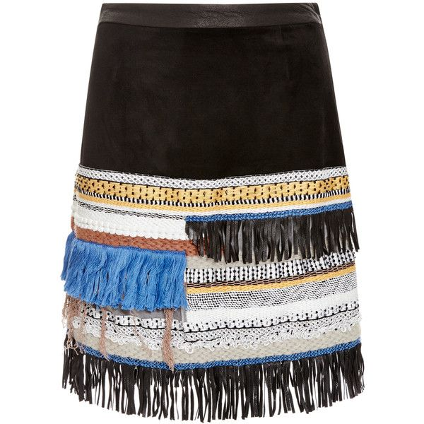 Derek Lam 10 Crosby Embellished Suede Skirt ($640) ❤ liked on Polyvore featuring skirts, bottoms, embroidered pencil skirt, boho skirt, bohemian skirt, suede skirt and fringe skirt