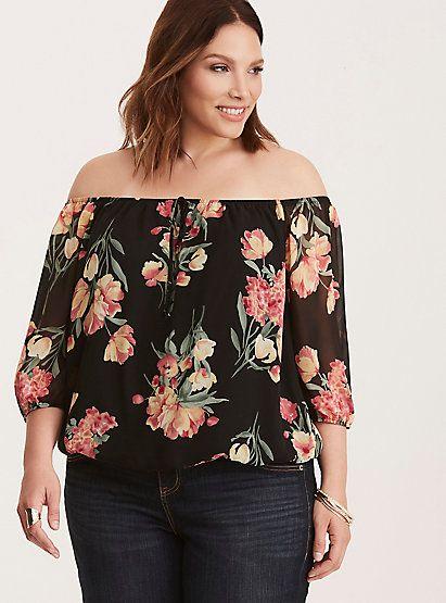 Floral Print Off Shoulder Banded Bottom Blouse Pinterest