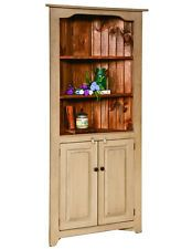 Corner China Hutch Kitchen Cabinet Country Farmhouse Amish Handmade Furniture
