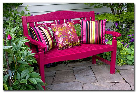 Garden bench in the shade... sit back, open a book and get lost in its pages.