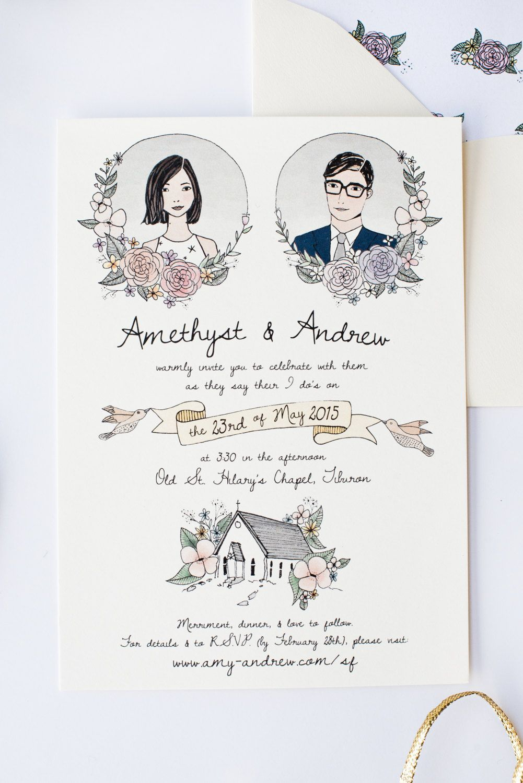 Illustrated Wedding Invitation  Custom Hand Drawn Invitation | Etsy